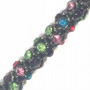 Multi-colour rhinestone gun metal colour reticulated chain